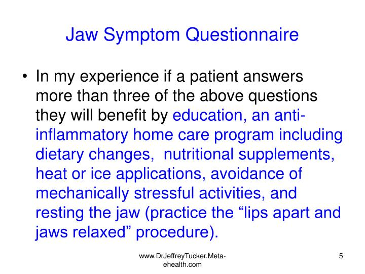 Jaw Symptom Questionnaire