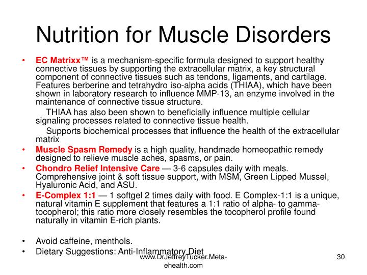 Nutrition for Muscle Disorders