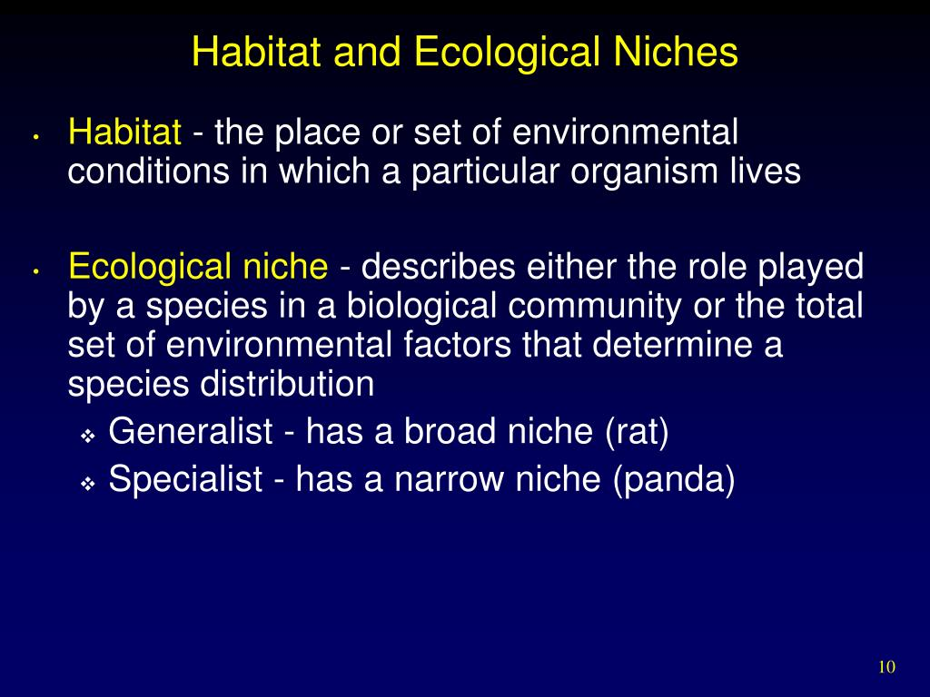 Habitat and Ecological Niches