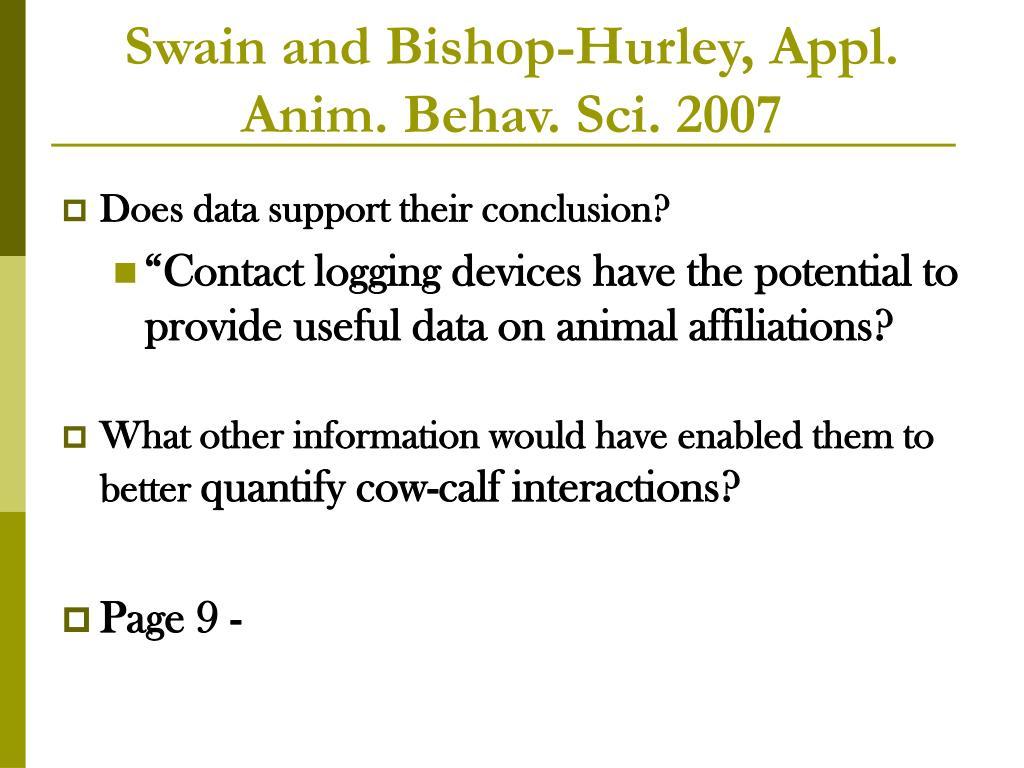 Swain and Bishop-Hurley, Appl. Anim. Behav. Sci. 2007