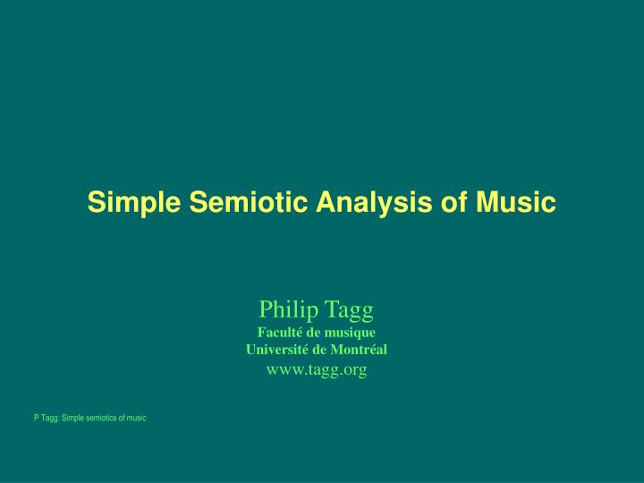 semiotic and technical analysis of the