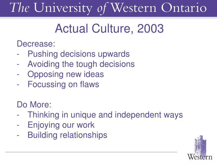Actual Culture, 2003
