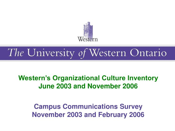 Western's Organizational Culture Inventory