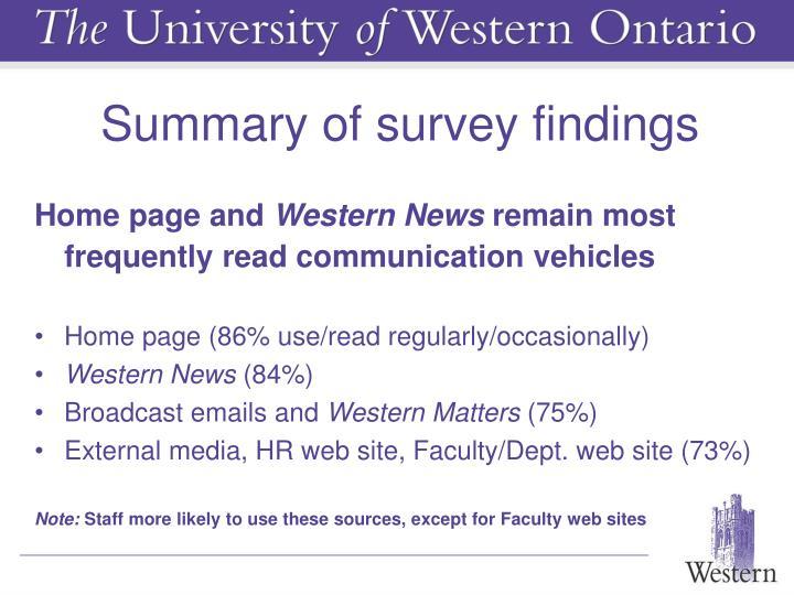 Summary of survey findings