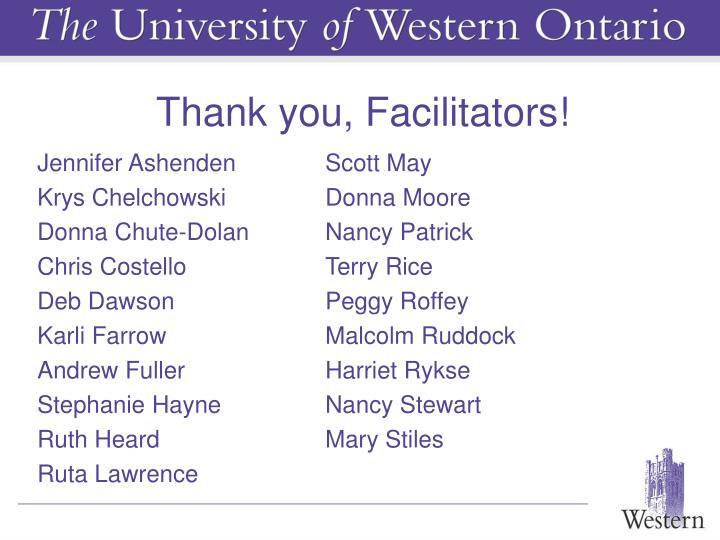 Thank you, Facilitators!