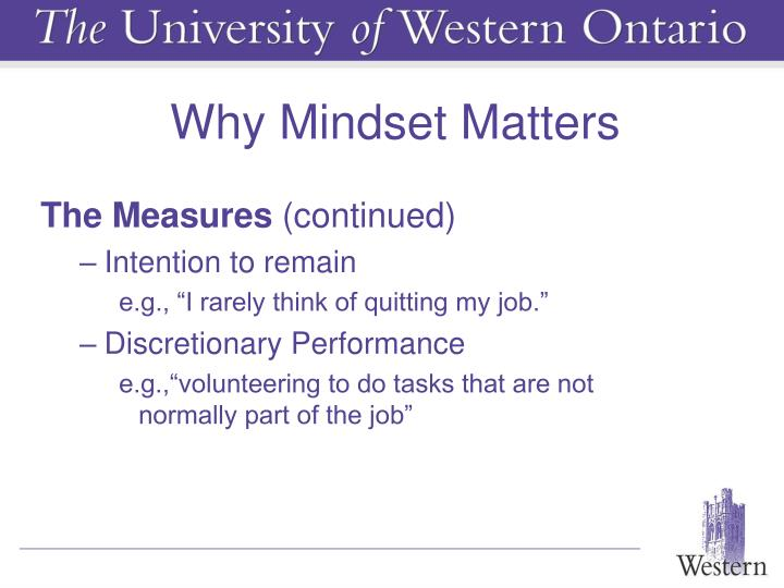Why Mindset Matters