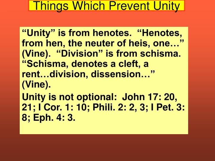 things which prevent unity n.