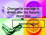 changes of marriage in britain after the second world war