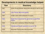 developments in medical knowledge helped