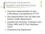 continuous improvement transition care working group