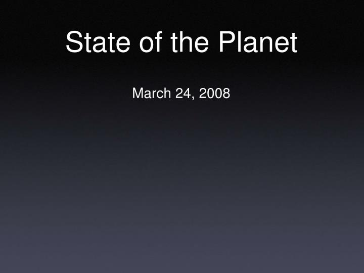 state of the planet n.