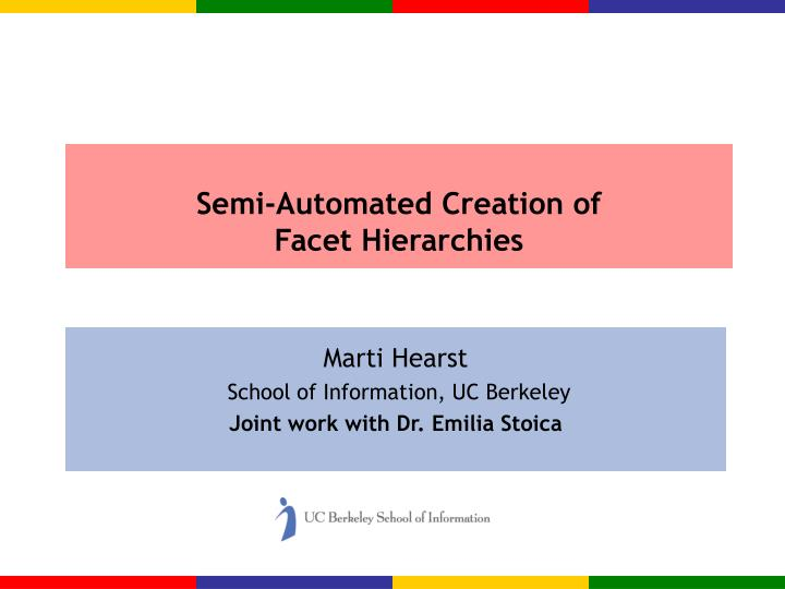 semi automated creation of facet hierarchies n.