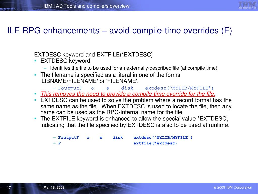 ILE RPG enhancements – avoid compile-time overrides (F)