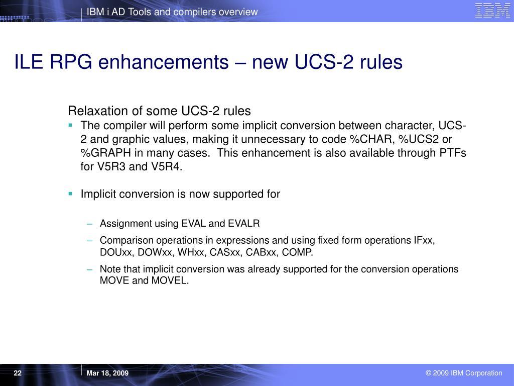 ILE RPG enhancements – new UCS-2 rules