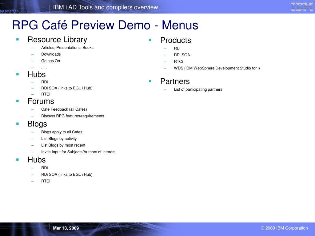 RPG Café Preview Demo - Menus