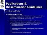 publications dissemination guidelines