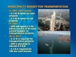 municipalty budget for transportation