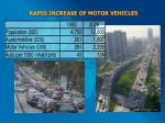 rapid increase of motor vehicles