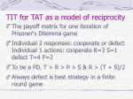tit for tat as a model of reciprocity