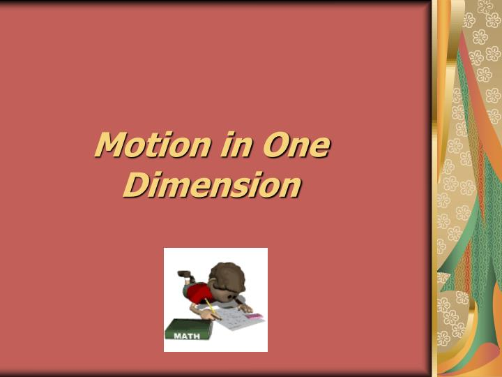 motion in one dimension n.
