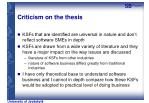 criticism on the thesis