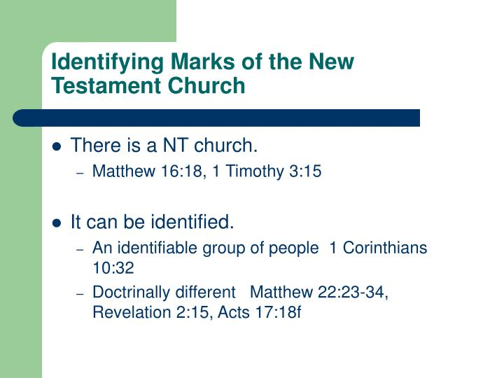 identifying marks of the new testament church n.