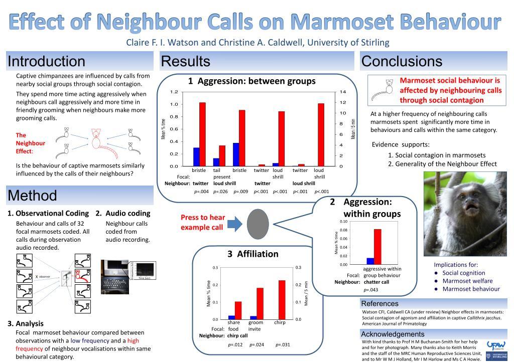Effect of Neighbour Calls on Marmoset Behaviour