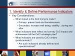 1 identify define performance indicators