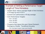 example of setting a performance target length of time homeless