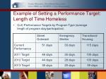 example of setting a performance target length of time homeless1