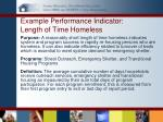 example performance indicator length of time homeless