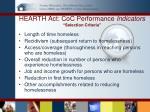 hearth act coc performance indicators selection criteria