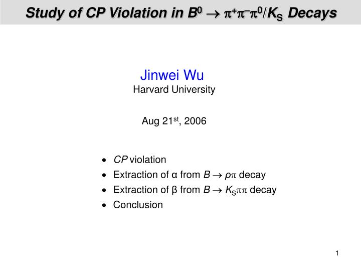 study of cp violation in b 0 0 k s decays n.
