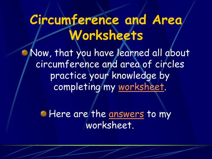 Circumference and Area Worksheets