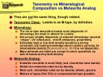 taxonomy vs mineralogical composition vs meteorite analog