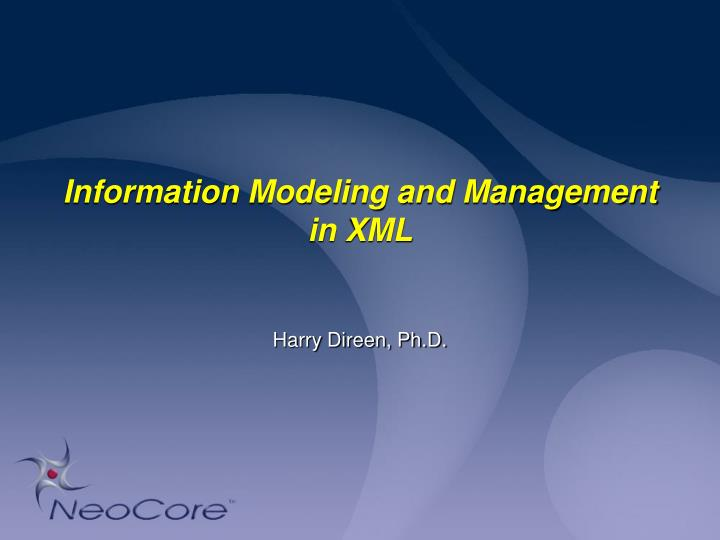 information modeling and management in xml n.