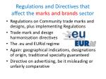 regulations and directives that affect the marks and brands sector