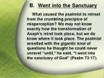 b went into the sanctuary