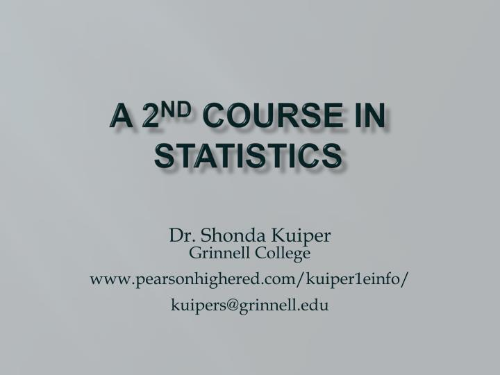 a 2 nd course in statistics n.