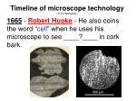 1665 robert hooke he also coins the word cell when he uses his microscope to see in cork bark