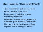 major segments of nonprofits markets