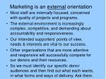 marketing is an external orientation