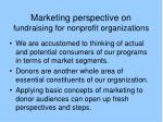 marketing perspective on fundraising for nonprofit organizations