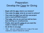 preparation develop the case for giving