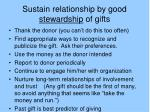 sustain relationship by good stewardship of gifts