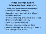 trends in donor markets influencing their views of us