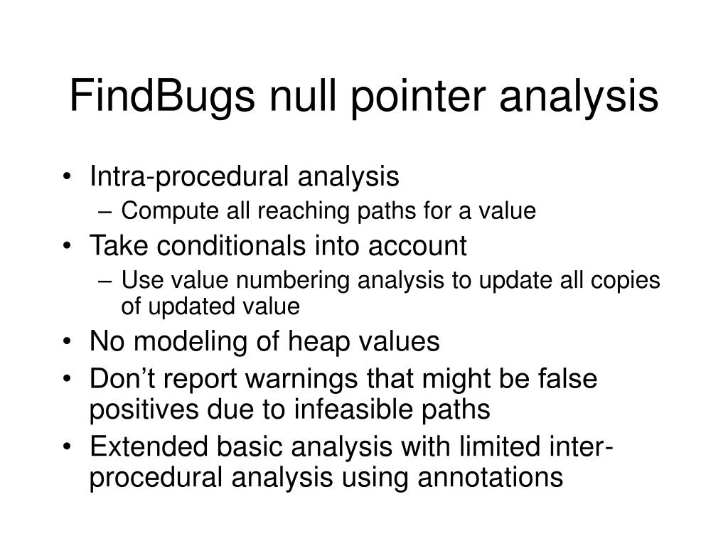 FindBugs null pointer analysis