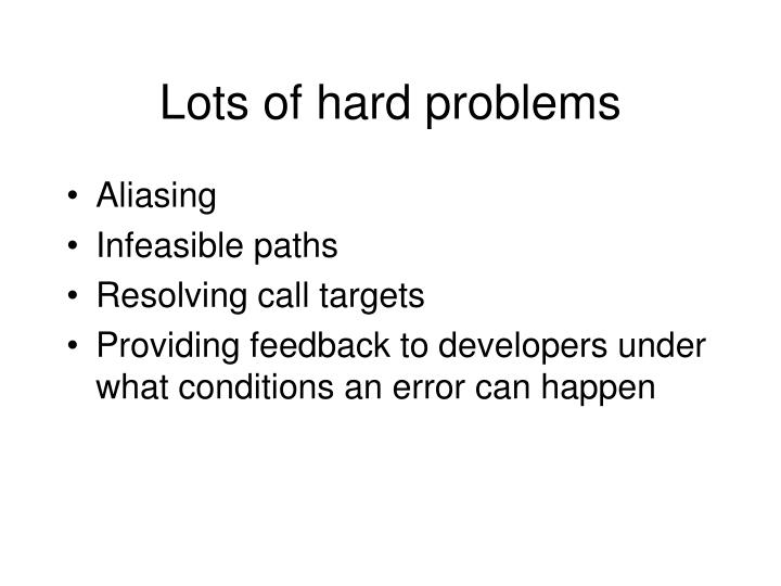 Lots of hard problems