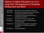 options of higher education vis vis long term developments of graduate employment and work