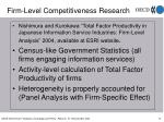 firm level competitiveness research